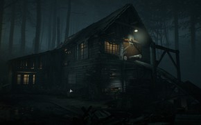Picture forest, light, night, house, ruins, Blair Witch, Sawmill