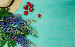 Picture flowers, background, wood, flowers, strawberry, purple, lupins, lupine