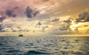 Picture sea, sunset, the evening, yacht