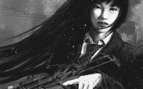 Picture look, girl, weapons, art, tie, black and white, form, Asian
