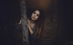 Picture forest, girl, face, tree, trunk