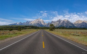 Picture road, sky, mountains