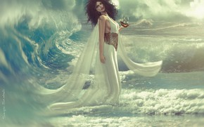Picture girl, the ocean, wave, ship