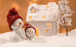 Picture winter, snow, smile, holiday, toys, family, Christmas, the snow, New year, snowmen, house, snowman, faces, …