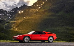 Picture red, BMW, side view, BMW M1, E26, M1