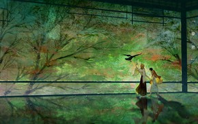 Picture trees, bird, garden, guys, The Blade Cleaves Demons, Kyojuro Rengoku, Tanjirou Kamado, Yukinoneko, Demon Slayer: …