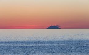 Picture sea, the sky, island, the volcano, Italy, Стромболи