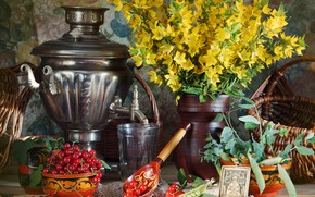 Picture flowers, table, berry, peas, spoon, Cup, vase, glasses, still life, samovar, red, currants, yellow, icon, …
