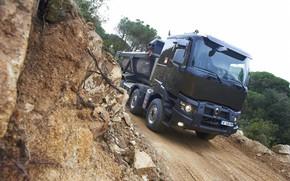 Picture road, vegetation, Renault, body, dump truck, four-axle, Renault Trucks, K-series