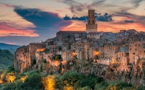 Picture sunset, building, home, Italy, Italy, Tuscany, Tuscany, Pitigliano, Pitigliano