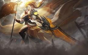 Picture Girl, The game, Armor, Light, Style, Girl, Sword, Warrior, Light, Fantasy, Art, Art, Red, Style, …