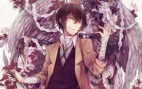 Picture anime, Angel, art, Wings, Lace, Skeleton, Bungou Stray Dogs, Stray dogs literary geniuses, Dazai Osamu