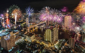 Picture the city, Thailand, Bangkok, fireworks