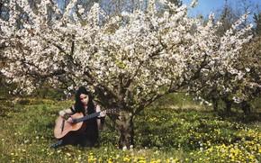 Picture guitar, girl, spring, garden