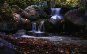 Picture autumn, forest, leaves, stones, thickets, waterfall, falling leaves, boulders, autumn