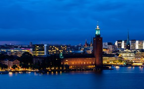Picture photo, Night, Tower, The city, Stockholm, Sweden
