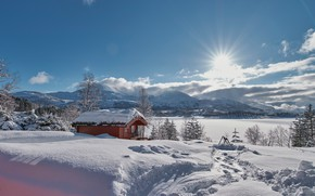 Picture winter, snow, mountains, Norway, the snow, hut, Norway, the fjord, Møre and Romsdal, As og …