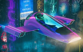 Picture Music, The city, Machine, Rain, Fiction, The shower, Cyber, Cyberpunk, Synth, Retrowave, Synthwave, New Retro …
