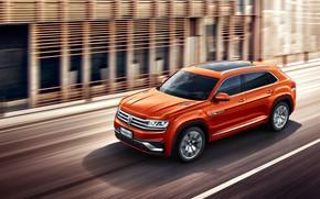 Picture car, machine, movement, Volkswagen, Soroti, big car, Volkswagen Teramont, the orange machine, Volkswagen Teramont X