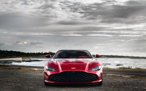 Picture red, Aston Martin, coupe, grille, front view, Zagato, 2020, V12 Twin-Turbo, DBS GT Zagato, 760 …