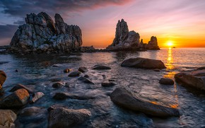 Picture sea, sunset, rocks, shore, the evening