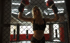Picture sport, girl, photographer, model, blonde, sportswear, boxing gloves, Evgeny Pavlov, boxe
