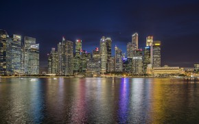 Wallpaper the city, lights, the ocean, panorama, Singapore