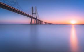 Picture bridge, river, sunrise, dawn, Portugal, Lisbon, Portugal, Lisbon, Tagus River, Vasco da Gama Bridge, Bridge …
