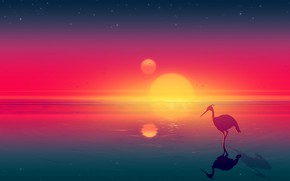 Picture Sunset, The sun, Sea, Mountains, Sunrise, Stars, Birds, Fantasy, Landscape, Art, Art, Landscape, Heron, Josef …