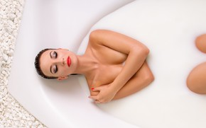 Picture girl, background, bath
