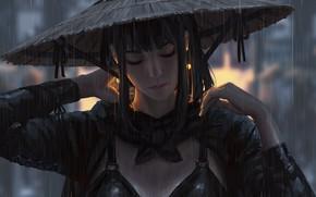 Picture girl, fantasy, rain, hat, samurai, artist, digital art, artwork, warrior, fantasy art, closed eyes, fantasy …