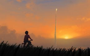 Picture Sunset, The sun, Boy, Rocket, Bike, Art, Start, Start, Illustration, Launch, Kenneth Sofia, He'll get …