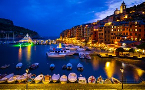 Picture night, the city, Strait, mountain, home, yachts, boats, pier, lighting, lights, Italy, Portovenere
