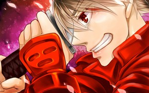 Picture smile, anime, petals, art, samurai, guy, red eyes, Drifters