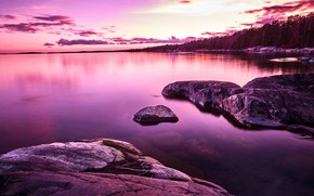 Picture forest, the sky, clouds, trees, sunset, lake, stones, shore, island, Sweden, Sweden, Stockholm, Ingar, The …