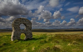 Picture field, the sky, grass, clouds, hills, stone, Scotland, masonry, space, bricks, holes, ancient, Eight, magalit, …