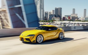 Picture road, yellow, sports car, Toyota Supra, 2020 Toyota GR Above