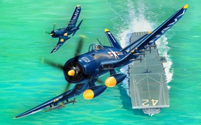 Picture Pair, Missiles, Corsair, The carrier, F4U-5, HVAR, 4x20 mm cannon, Engine R-2800-32W, USA