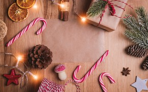 Picture winter, branches, background, holiday, box, gift, toys, Board, Christmas, candy, New year, cardboard, cinnamon, garland, …
