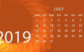 Picture calendar, July, 2019