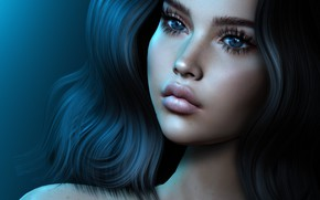 Picture eyes, girl, face, rendering, hair, lips