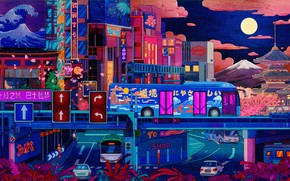 Picture Night, The city, The moon, Style, City, Bus, Fantasy, Architecture, Art, Cars, Art, Style, Illustration, …