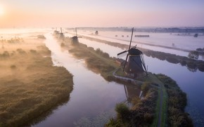 Picture fog, windmill, nederland, Kinderdijk