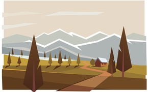Picture mountains, house, Forest, illustration