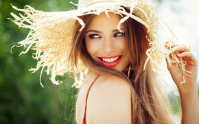 Picture look, the sun, close-up, pose, smile, portrait, hat, makeup, hairstyle, brown hair, beauty, bokeh
