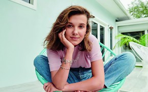 Picture look, girl, decoration, pose, smile, model, brown hair, Millie Bobby Brown