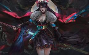 Picture demon girl, illustration, brunette, weapon, warrior, digital art, samurai, fantasy art, demon, katana, dark, detached …