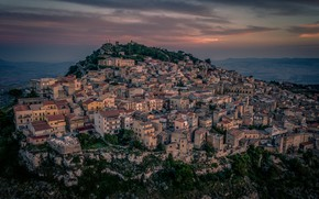Picture sea, sunset, home, Italy, panorama, Sicily
