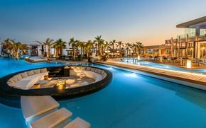 Picture palm trees, pool, Greece, resort, люксус, Crete Luxury Resort, Stella island