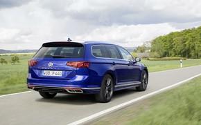 Picture road, blue, Volkswagen, universal, Passat, R-Line, Variant, 2019